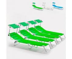 4 Lettini spiaggia mare brandina pieghevole alluminio Cancun | Verde 2