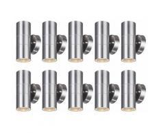 Set di 10 luci per esterni in acciaio inox UP DOWN faretti a parete, facciate, illuminazione,