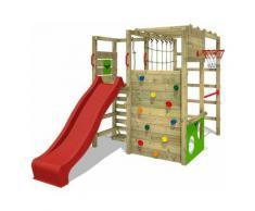 FATMOOSE Parco giochi in legno ActionArena Giochi da giardino con scivolo rosso Scala svedese,