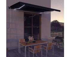 Tenda da Sole Retrattile Manuale con LED 500x300 cm Antracite - Grigio - Vidaxl
