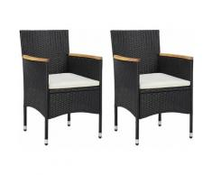 Sedie da Pranzo per Giardino 2 pz in Polyrattan Nero Modello 2 - Nero - Vidaxl