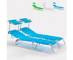 2 Lettini spiaggia mare brandina pieghevole alluminio Cancun | Blu