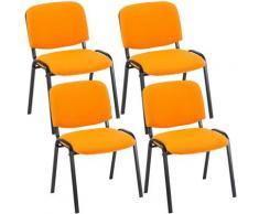 Set 4 Sedie Ufficio Visitatore Ken Imbottite In Tessuto Arancione