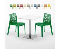 Tavolino Quadrato 60x60 cm Top Bianco con 2 Sedie Colorate Gruvyer Hazelnut   Verde 2