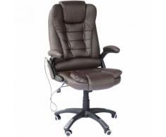 HomCom Poltrona Massaggiante da Ufficio con Riscaldamento in Ecopelle, Marrone, 62x68x121cm