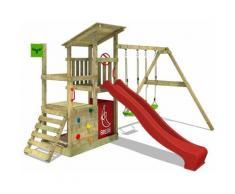 FATMOOSE Parco giochi in legno FruityForest Giochi da giardino con altalena e scivolo rosso Torre