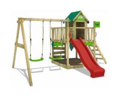 FATMOOSE Parco giochi in legno JazzyJungle Giochi da giardino con altalena e scivolo rosso Casetta