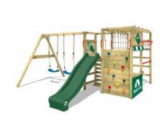 WICKEY Parco giochi in legno Smart Zone Giochi da giardino con altalena e scivolo verde Scala