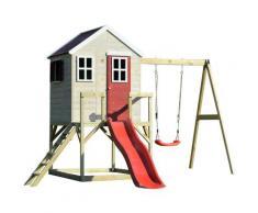 Casetta da giardino bambini piattaforma 90 cm con scivolo e singole altalene Estate Lodge Casa