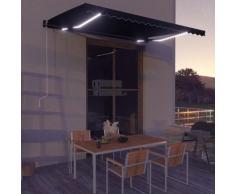 Tenda da Sole Retrattile Manuale con LED 450x300 cm Antracite - Grigio - Vidaxl