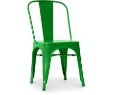 Sedia stile Tolix sedile quadrato - Nuova Edizione - Metallo Verde