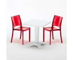 Tavolino Quadrato 70x70 cm e 2 Sedie Colorate Trasparenti CAFFÈ | B-Side Rossa Trasparente - Bianco