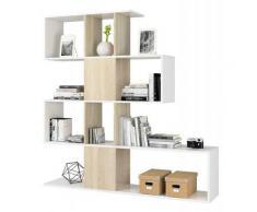 Libreria scaffale multiuso zig zag BIANCA e ROVERE con ripiani 145 X 29 X 145 cm salone studio