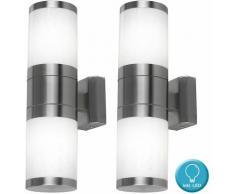 Etc-shop - Set di 2 lampade da parete per esterni a sospensione in acciaio inox con set di