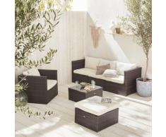 Salotto da giardino, resina intrecciata - modello: Benito, colore: Marrone - Colore: Cioccolato,