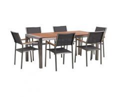 Set da giardino tavolo in eucalipto e 6 sedie in fibra tessila grigia GROSSETO