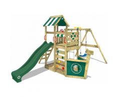 WICKEY Parco giochi in legno SeaFlyer Giochi da giardino con altalena e scivolo Verde, Casetta