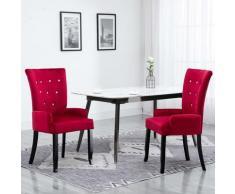 Sedia da Pranzo con Braccioli Rossa in Velluto - Rosso - Youthup