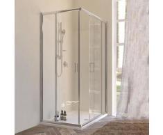 Box doccia angolare due porte scorrevoli cristallo 6 mm trasparente 100x120 cm