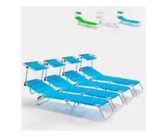4 Lettini spiaggia mare brandina pieghevole alluminio Cancun | Blu
