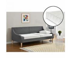 Divano letto comodissimo in tessuto grigio scuro - con gambe effetto legno - 200cm x 90cm - con