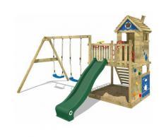 WICKEY Parco giochi in legno Smart Lodge 120 Giochi da giardino con altalena e scivolo verde