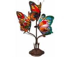Lampada comodino con 3 Farfalle Tiffany cm H53xL35xS27 Artedalmondo AB20101