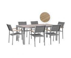 Set da esterno tavolo effetto legno 180 cm 6 sedie in tessuto grigio GROSSETO