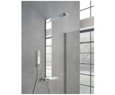 Colonna doccia piemonte in acciaio inox effetto specchio silver con mensola