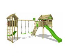 FATMOOSE Parco giochi in legno FunFactory Giochi da giardino con altalena TowerSwing e scivolo mela