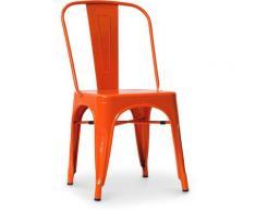 Sedia stile Tolix sedile quadrato - Nuova Edizione - Metallo Arancione