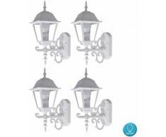 Etc-shop - Set di 4 lampade da parete ALU lanterne per illuminazione da esterni in set con