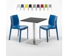 Tavolino Quadrato 60x60 cm Base Silver e Top Nero con 2 Sedie Colorate ICE PISTACHIO | Blu