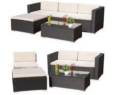 Lounge Garden Set Divano da tavolo Cuscino nero Polyrattan Mobili da giardino Polyrattan