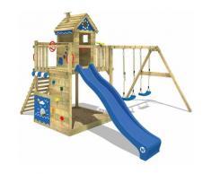 WICKEY Parco giochi in legno Smart Lodge 150 Giochi da giardino con altalena e scivolo blu Casetta