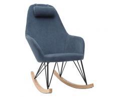 Miliboo - Poltrona a dondolo in tessuto velluto blu piedi in metallo e legno JHENE
