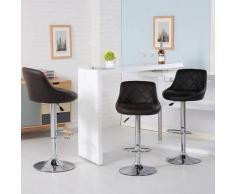 Set di 2 sgabelli da bar - Sedia da bar imitazione nera - con schienale - Altezza regolabile 53
