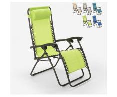 Sedia sdraio spiaggia giardino pieghevole multiposizione Emily Zero Gravity | Verde
