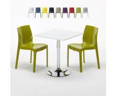 Grand Soleil - Tavolino Quadrato Bianco 70x70 cm con Base in Acciaio e 2 Sedie Colorate GRUVYER