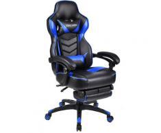 Sedie da Gaming Racing Gamer Ufficio con Poggiapiedi Telescopico Blu - Nero