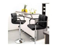 Set di 2 sgabelli da bar, sedia da bar con schienale e braccioli in pelle sintetica, regolabile in