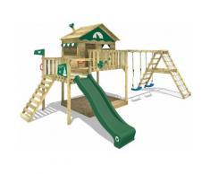 WICKEY Parco giochi in legno Smart Ocean Giochi da giardino con altalena e scivolo verde Casa su