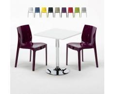 Tavolino Quadrato Bianco 70x70 cm con Base in Acciaio e 2 Sedie Colorate GRUVYER COCKTAIL | Viola