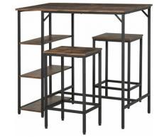 Set Tavolo Alto 2 Sgabelli e Scaffale Stile Industriale Metallo e Legno - Homcom