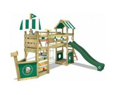 WICKEY Parco giochi in legno StormFlyer Giochi da giardino con altalena e scivolo verde Casetta da