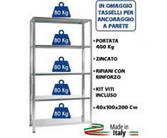 KIT SCAFFALE SCAFFALATURA METALLO ZINCATO 5 RIPIANI RINFORZO 100x40x200 400 Kg