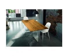 Tavolo massello rovere nodato e vetro sp. 4 160x90 cm (Grano)