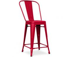 Sgabello da bar Tolix quadrati con schienale Pauchard Style - 60cm Rosso