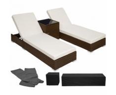 2 lettini in alluminio e polyrattan + tavolo - sdraio, sdraio da giardino, lettini da spiaggia