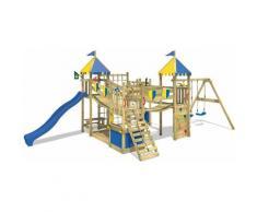 WICKEY Parco giochi in legno Smart King Giochi da giardino con altalena e scivolo blu Torre